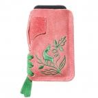 Lederhosen Smartphone Tascherl (rosa/grün)