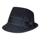 Trachtenhut Madame mit Schleife blau  57