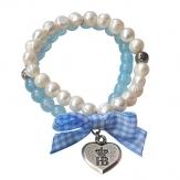 Hofbräuhaus Armband Perle mit Vichy blau